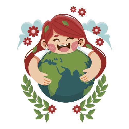 dziewczynka obejmuje ziemie